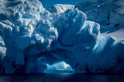 Blue iceberg cave